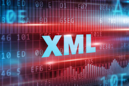 XML abstract concept blue text red background Stock Photo