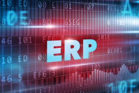 erp: ERP concept blue background and blue text