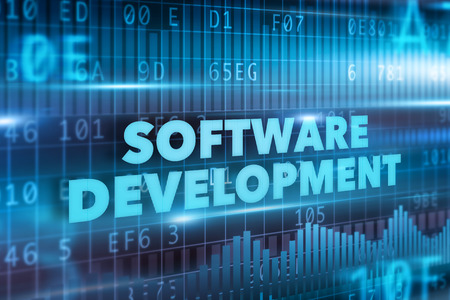 development process: Software development concept blue text blue background