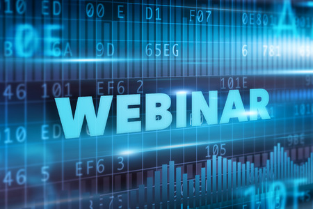 Webinar concept blue text and blue background