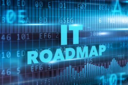 IT roadmap concept blue background blue text