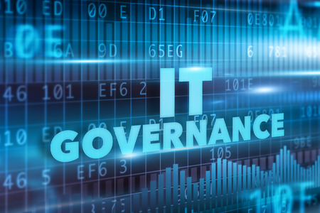 IT Governance concept with blue text and background