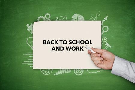 shool: Back to shool and work Concept on blackboard Stock Photo