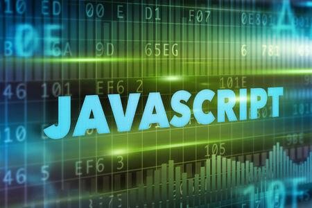 javascript: Concepto de fondo azul con el texto azul Javascript Foto de archivo