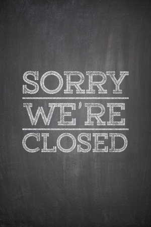 Sorry we're closed on black blackboard 스톡 콘텐츠