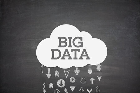 Big data cloud conncept on black blackboard photo