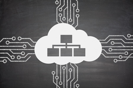 cloud transfer: Cloud computing concept with cloud and devices