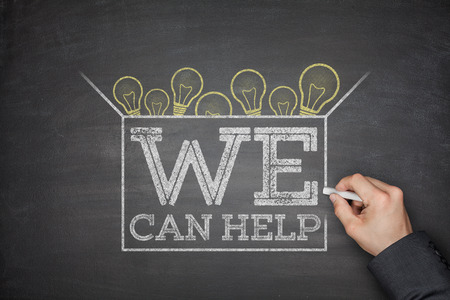 community help: We can help on black blackboard with hand