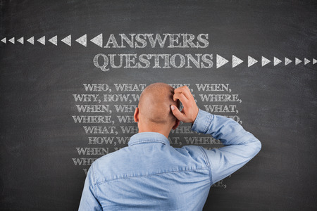 Answers questions, who what where when on blackboard photo