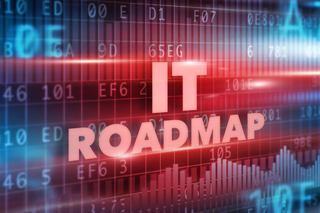 IT roadmap concept red background red text