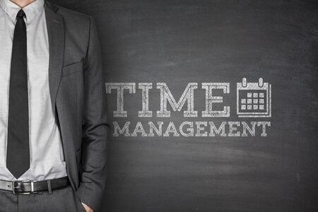 Time management on blackboard photo