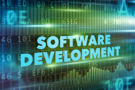 Software development concept blue text green background photo