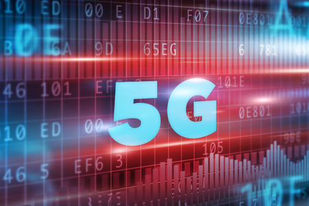 5G Concept with blue background blue text