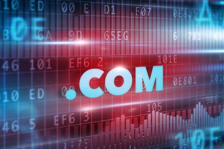 dot com: dot com concept with red background blue text