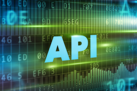 api: API concept green background with blue text