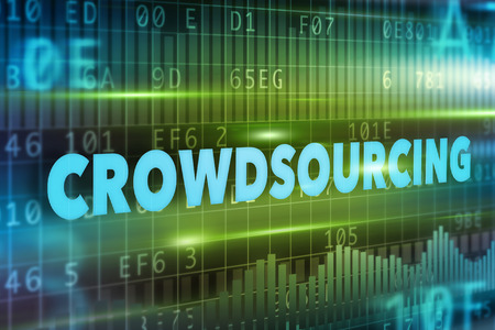 crowd source: Crowdsourcing concept with blue text green background