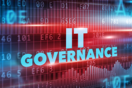 IT Governance concept with blue text and red background