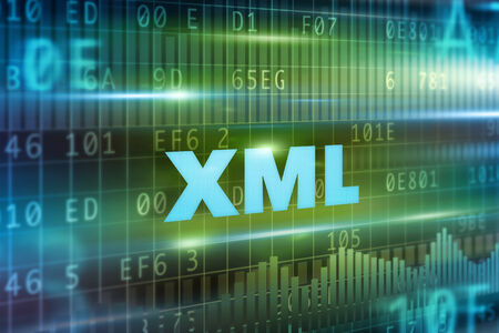 markup: XML abstract concept blue text green background Stock Photo