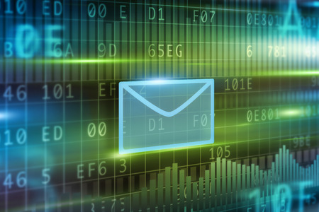 E-Mail concept with blue background green envelope photo