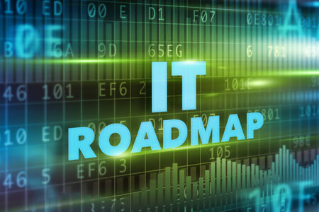 IT roadmap concept green background blue text