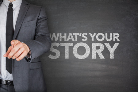 Whats your story on blackboard with businessman