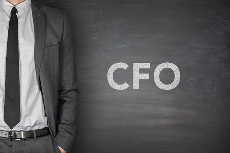 loss leader: CFO text on black blackboard with businessman