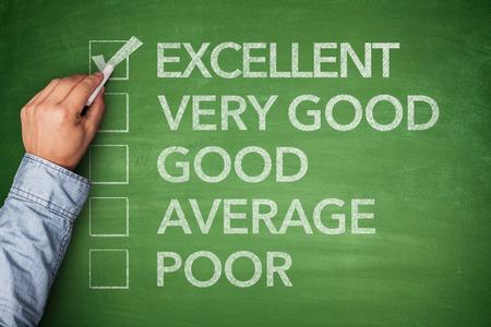 verry: Excellent result on survey on green blackboard