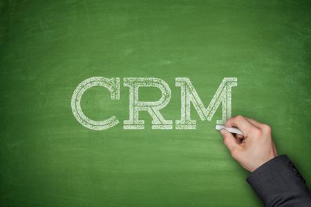 relation clients: CRM - Customer Relationship Management notion sur le tableau noir Banque d'images