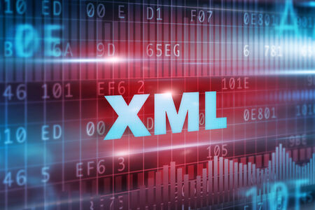 markup: XML abstract concept blue text red background Stock Photo