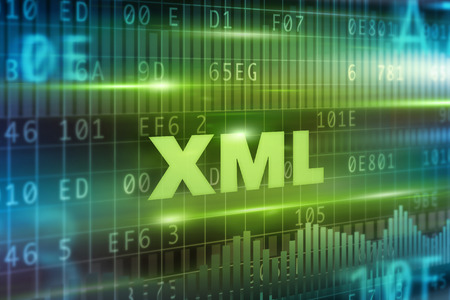 xml: XML abstract concept green text green background