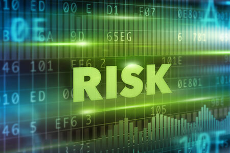 internet safety: Risk concept green background with green text