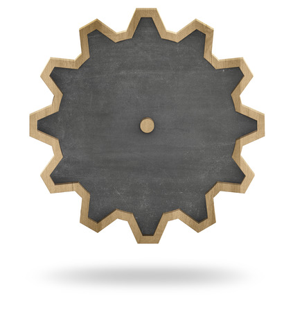 Black vintage shape cogwheel wooden frame blank blackboard on white background