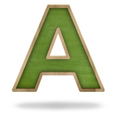 Black blank letter A shape blackboard on white background photo
