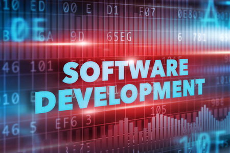 Software development concept blue text red background photo