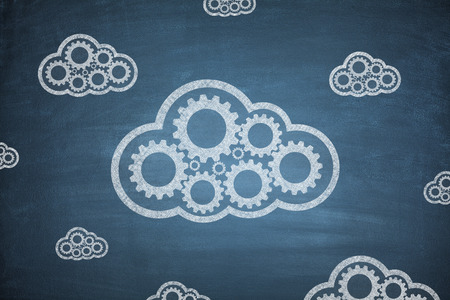 global innovation: Cloud computing concept with couple clouds blue background