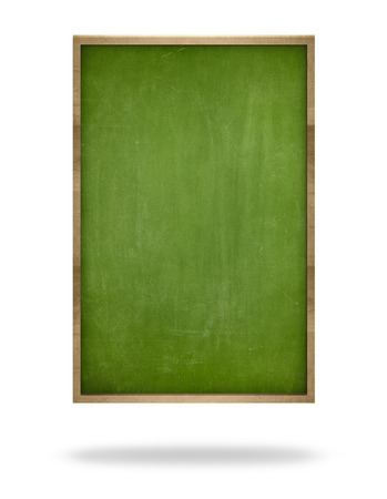 white board: Green vintage wooden frame vertical blank blackboard on white background