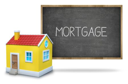 installment: Mortgage text on blackboard with 3d house front of blackboard on white background