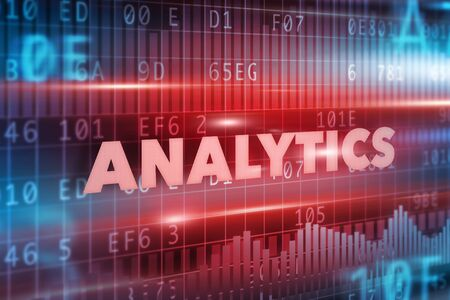 software solution: Analytics technology illustration concept with blue text Stock Photo