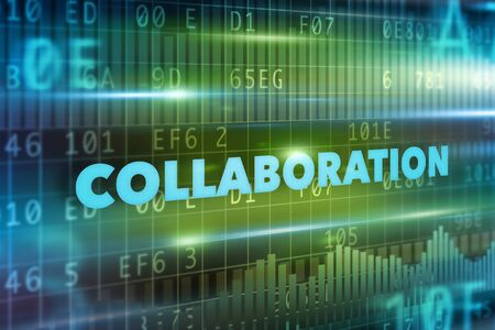 Collaboration concept with green background blue text Stock Photo
