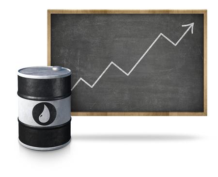 escalating: Oil price graph heading upwards on blackboard with oil barrel