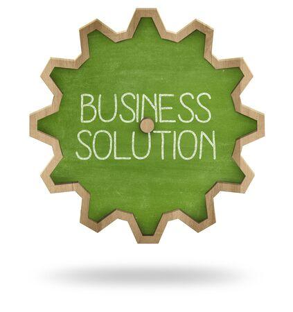 gear shape: Business solution text on gear shape green blackboard