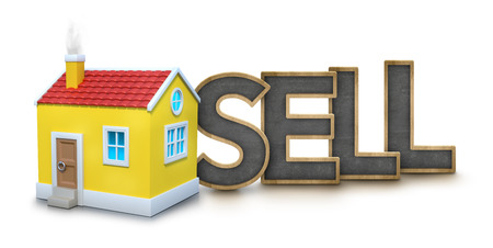 installment: Sell text with 3d house on white background Stock Photo