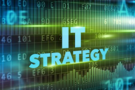 green it: IT strategy concept green background blue text