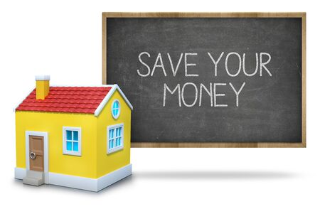 dividend: Save your money text on blackboard with 3d house on white background