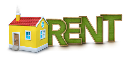 mortgage: Rent text with 3d house on white background
