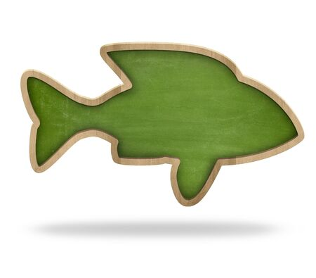 blackboard isolated: Fish shape green blackboard isolated on white Stock Photo