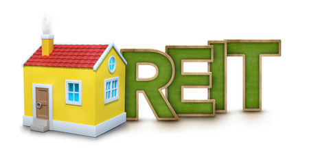 REIT text with 3d house on white background Imagens