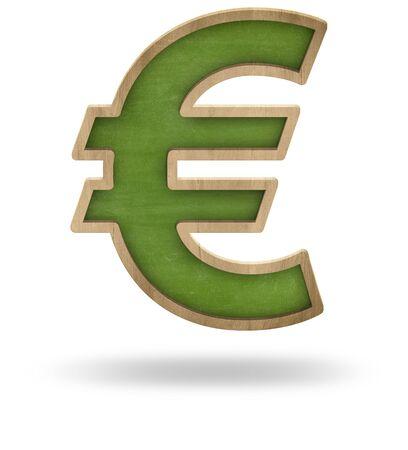 Green blank euro sign shape blackboard on white background photo