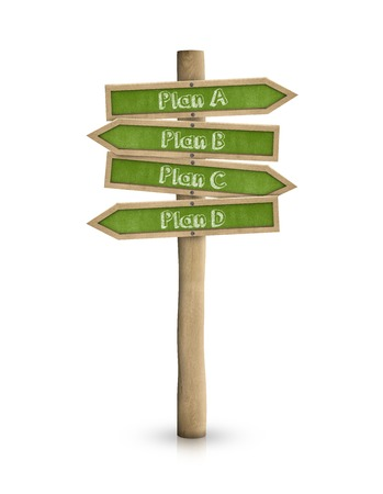 direction sign: Plan A, B, C, D road signs with green blackboard signs isolated on white
