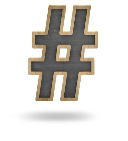 it is interesting: Black Hashtag shape blackboard concept isolated on white